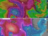 Согласно опубликованным его экспедиционным штабом скриншотам с сайта Windy, порывы ветра превышали 90 км/ч, а высота волн достигала 6,9 м