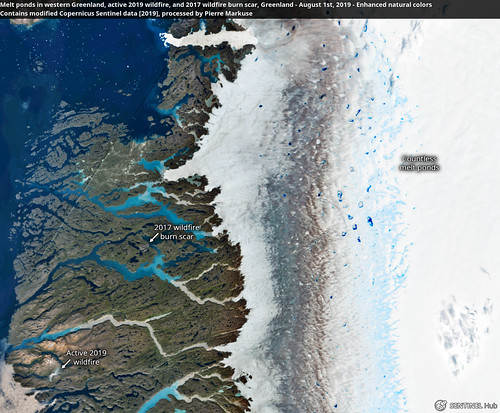 Melt ponds in western Greenland, active 2019 wildfire, and 2017 wildfire burn scar, Greenland - August 1st, 2019